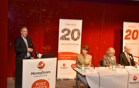 Standing Marc Matthews Senior Regional Director – U.K and Ireland. Seating from left: Paula Vennells, chief executive officer for the Post Office, Pam Patsley, MoneyGram's executive chairman and Peter Ohser MoneyGram's Executive Vice President, Americas & Europe.